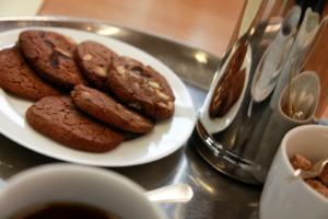 Cookies, biscuits, coffee and sugar cubes