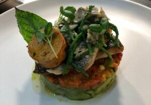 Savoury dish with fish and herbs at Guyers House restaurant