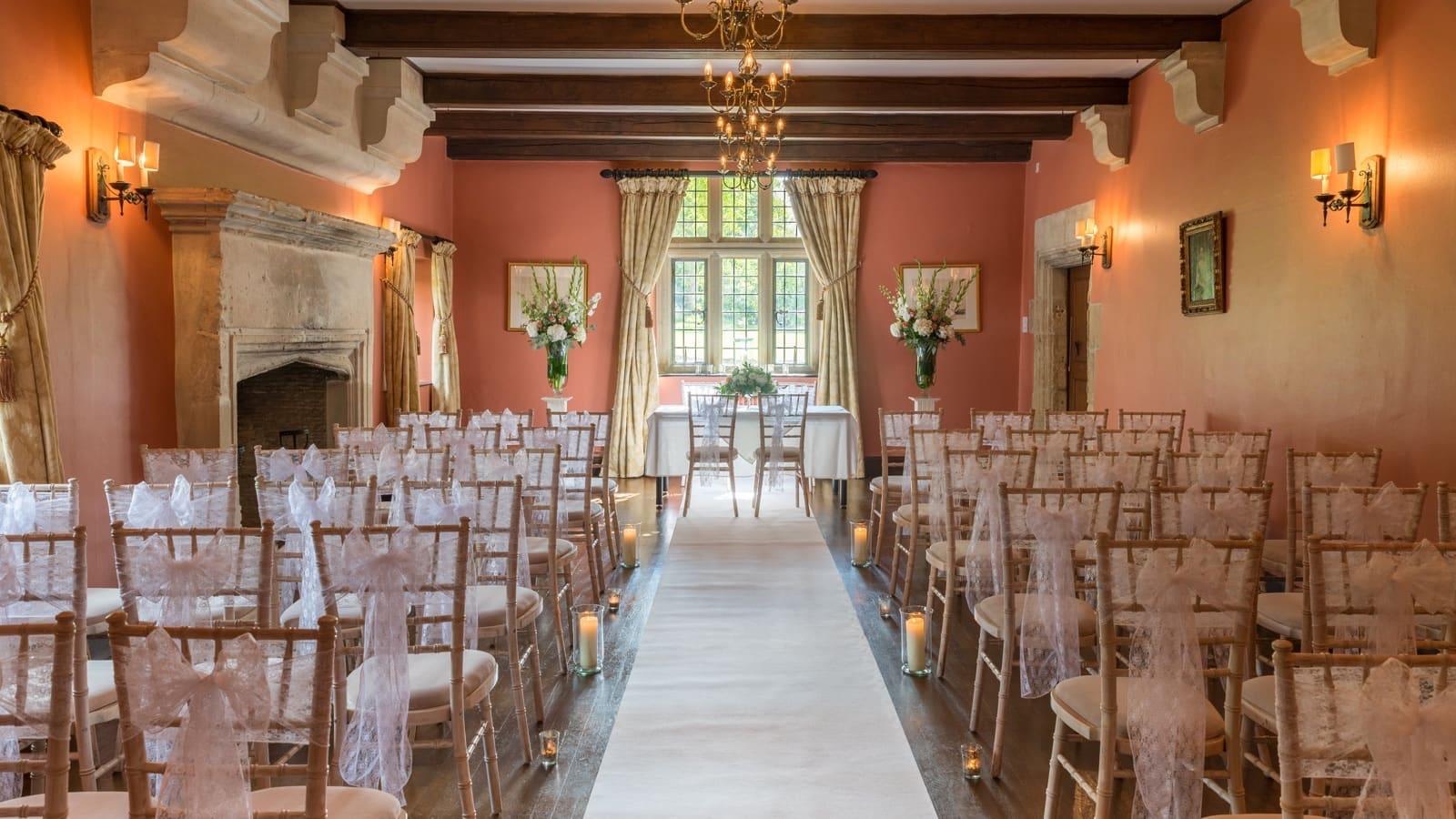 Indoor ballroom decorated for wedding ceremonies at Guyers House Hotel & Restaurant