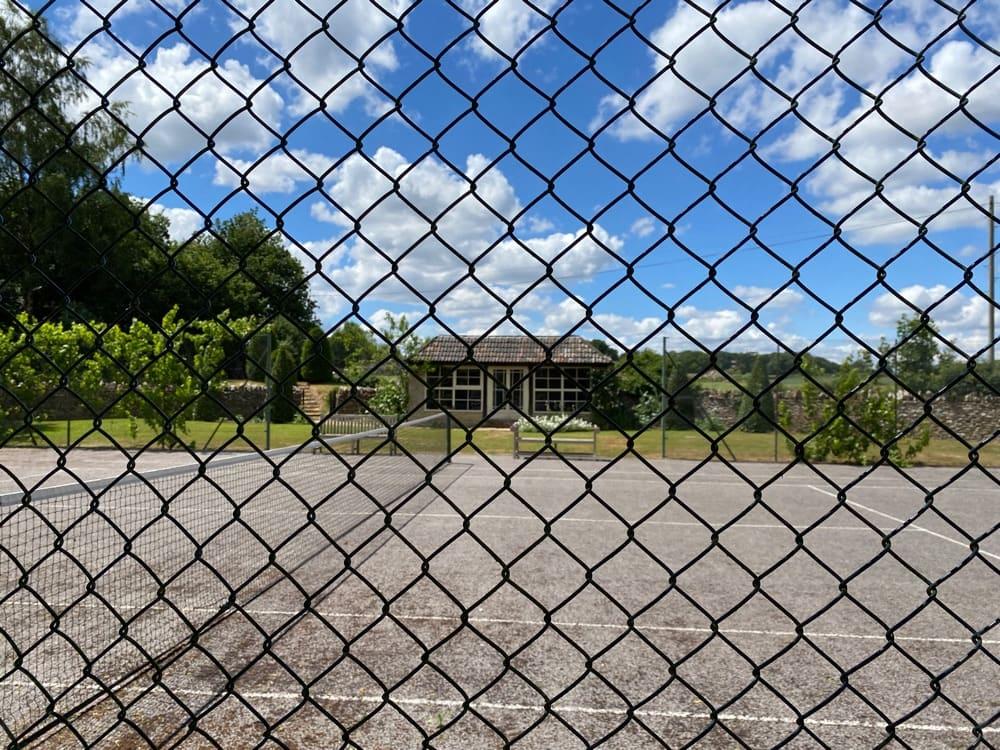 Tennis court with pavilion
