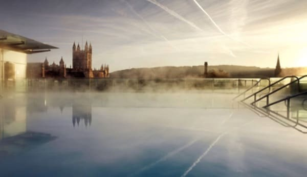 Outdoor spa pool overlooking the city in Bath