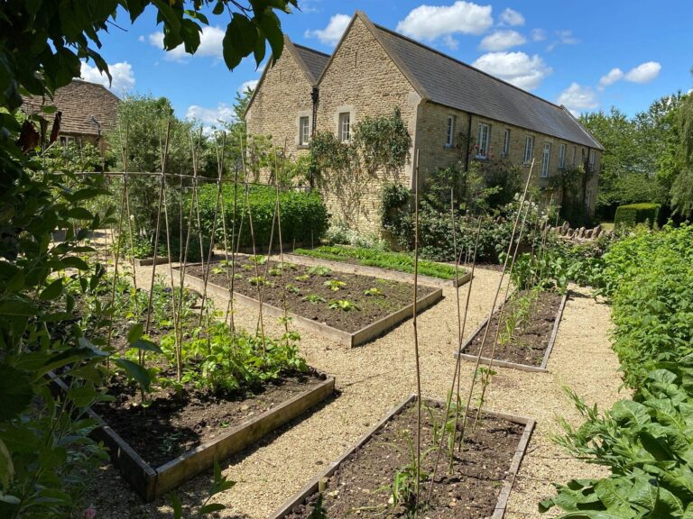 Allotment area with stone outbuildings at Guyers House Hotel