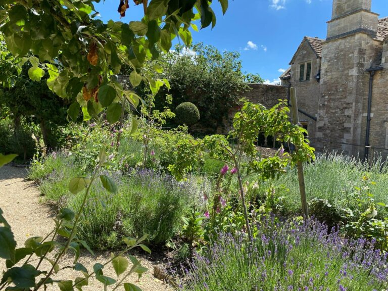 Gardens and main country house at Guyers House Hotel