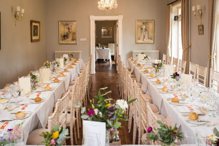 Orangery dining for wedding breakfast at Guyers House Hotel